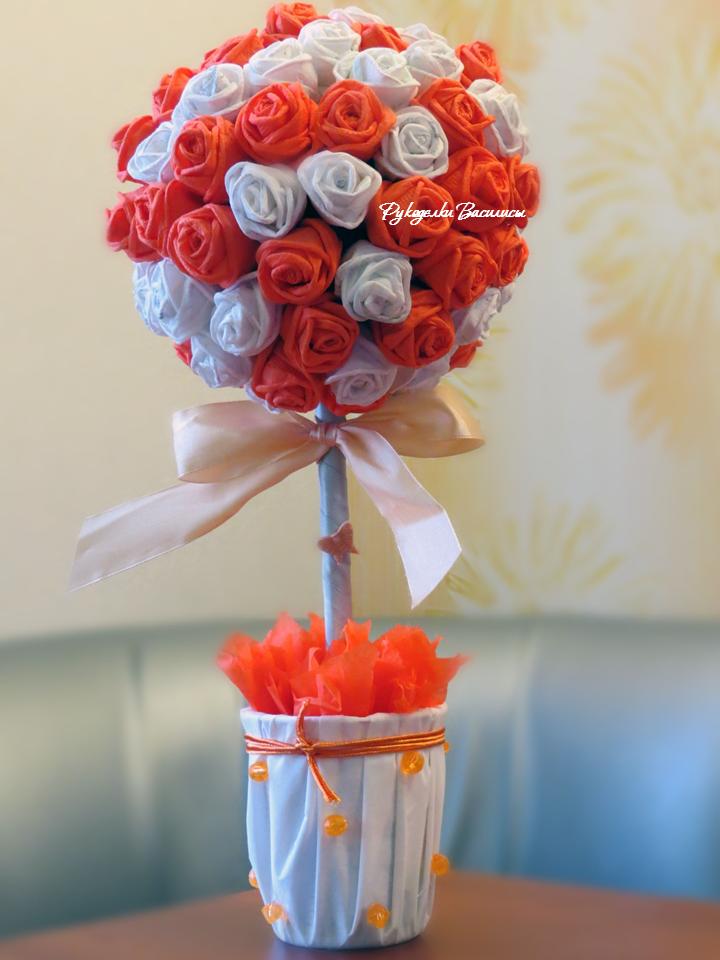 розы из салфеток своими руками, топиарий из бумажных роз, своими руками, оранжевый, апельсиновый топиарий, рукоделки василисы