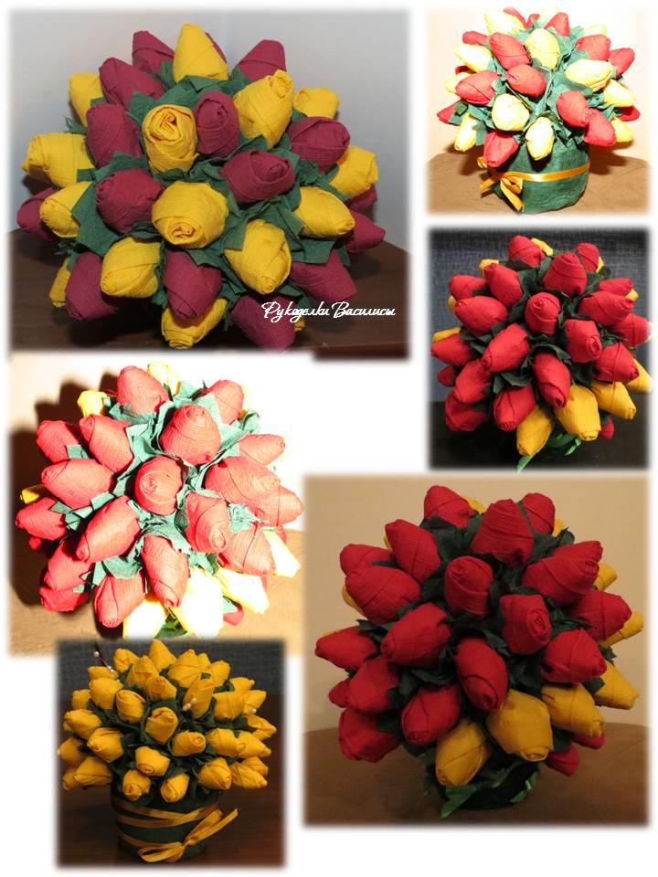 розы из салфеток своими руками, топиарий из бумажных роз, своими руками, весенний букет, рукоделки василисы