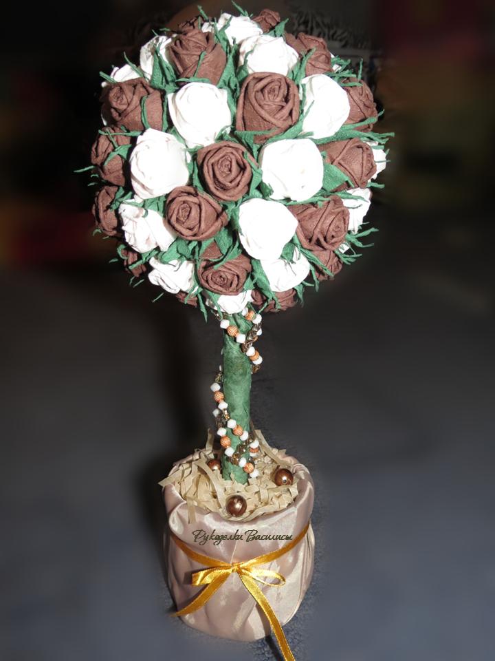 розы из салфеток своими руками, топиарий из бумажных роз, своими руками, топиарий кофе с молоком, рукоделки василисы