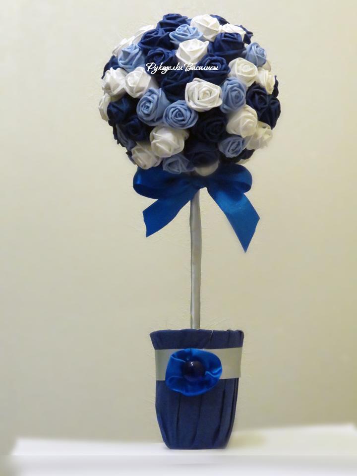 розы из салфеток своими руками, топиарий из бумажных роз, своими руками, топиарий сине-голубой, лазурный, рукоделки василисы