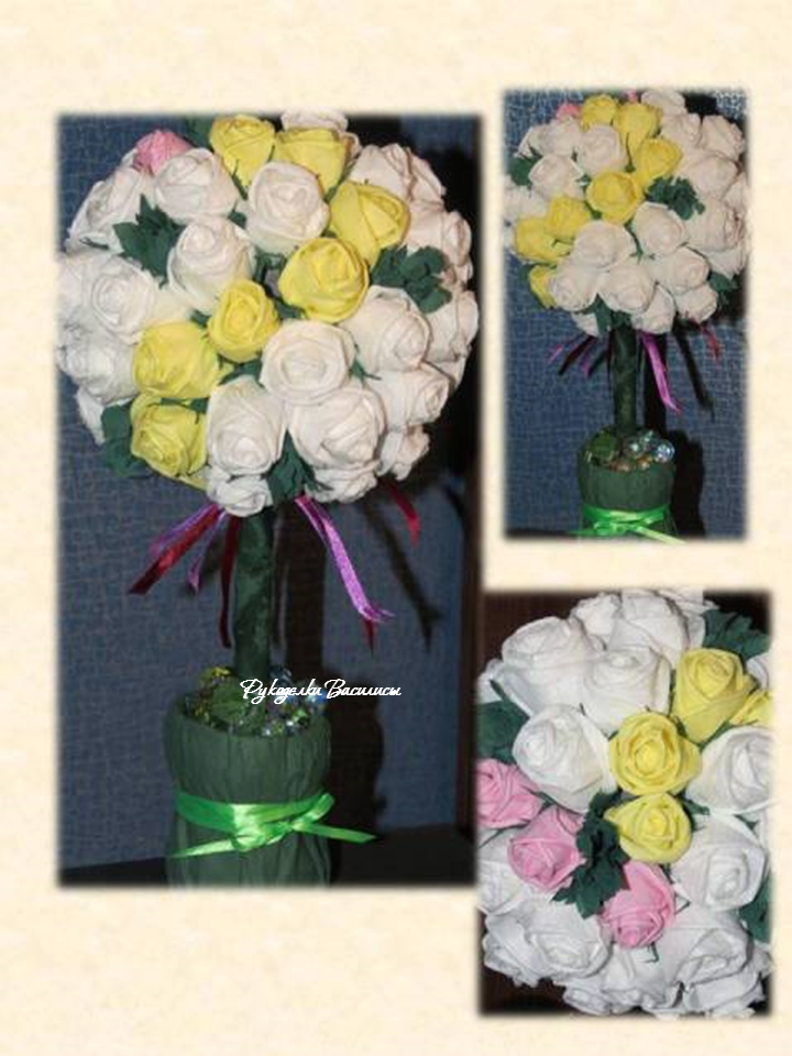 розы из салфеток своими руками, топиарий из бумажных роз, своими руками, топиарий нежный, рукоделки василисы