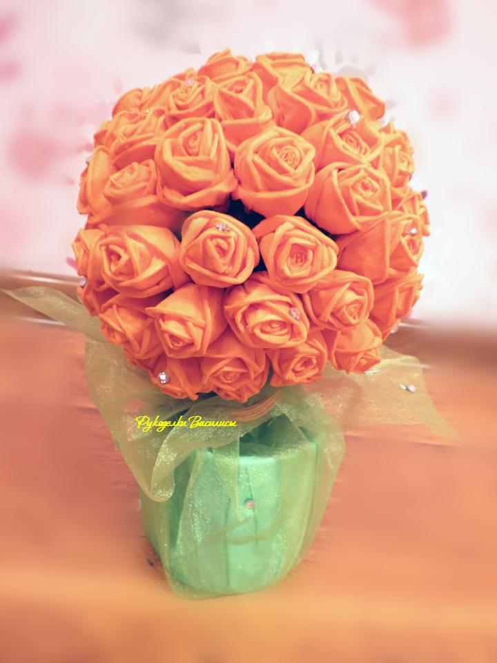 розы из салфеток своими руками, топиарий из бумажных роз, своими руками, топиарий оранжевое лето, рукоделки василисы