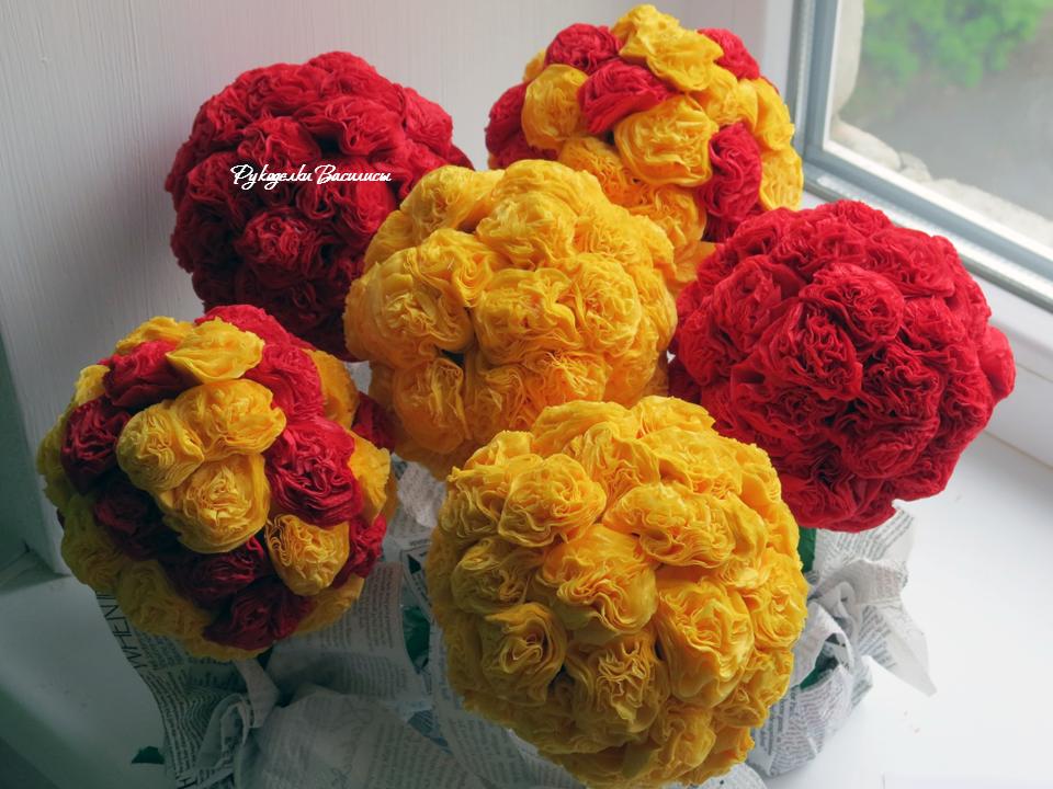 розы из салфеток своими руками, топиарий из бумажных роз, своими руками, топиарий пушистик, рукоделки василисы