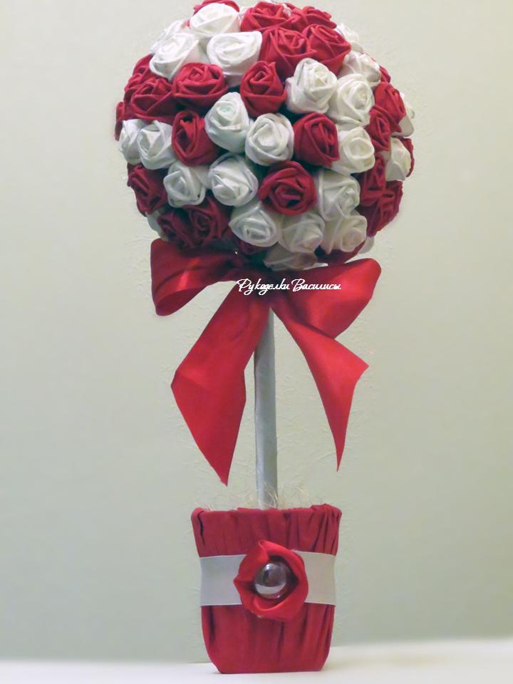 розы из салфеток своими руками, топиарий из бумажных роз, своими руками, топиарий конфетка, рукоделки василисы