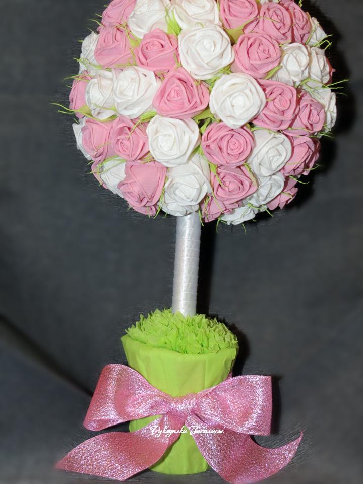 розы из салфеток своими руками, топиарий из бумажных роз, своими руками, топиарий зефирный, рукоделки василисы
