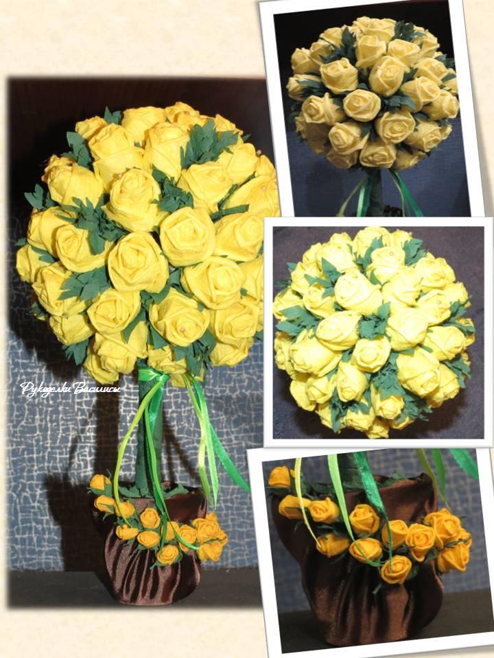розы из салфеток своими руками, топиарий из бумажных роз, своими руками, топиарий солнечный, рукоделки василисы