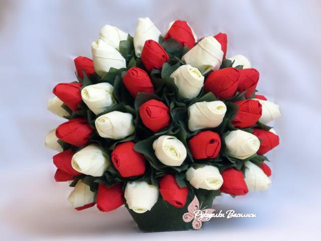 розы из салфеток своими руками, топиарий из бумажных роз, своими руками, рукоделки василисы