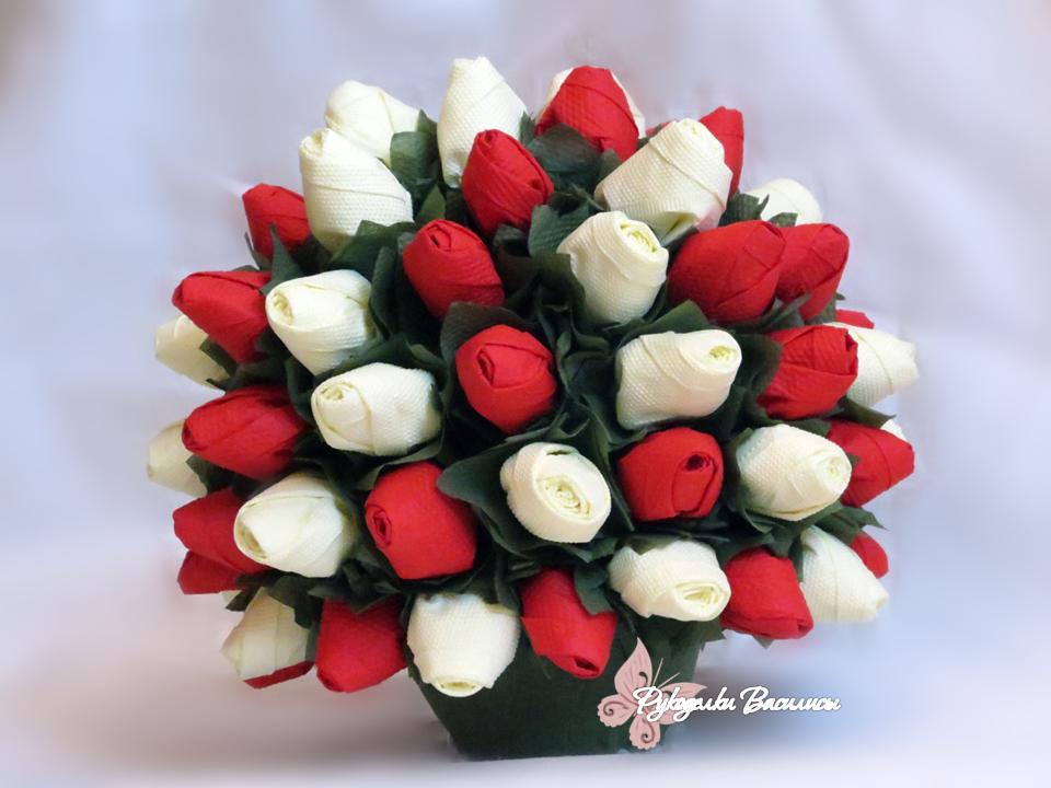 розы из салфеток своими руками, топиарий из бумажных роз, своими руками, топиарий весенний, рукоделки василисы