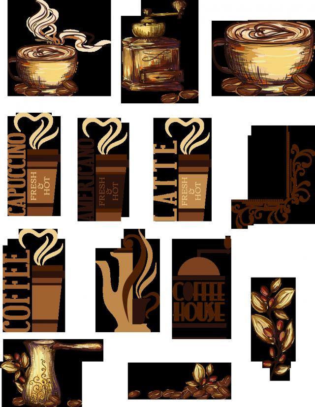цифровой скрапбукинг, для фотошопа, скрап набор, PSD шаблоны, картинки на прозрачном фоне, кофе, чашки, рукоделки василисы